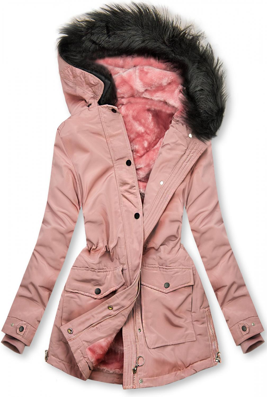 Winter Parka mit Plüschfütter rosa. -warmes Plüsch-Futter - nicht abnehmbare Kapuze -Kapuze mit abnehmbarem Kunstpelz - Reißverschluss vorne - einstellbarer Tunnelzug im Teillenbereich - 2 Taschen -Rückseite ohne Verzierung - Material: 100% Polyester