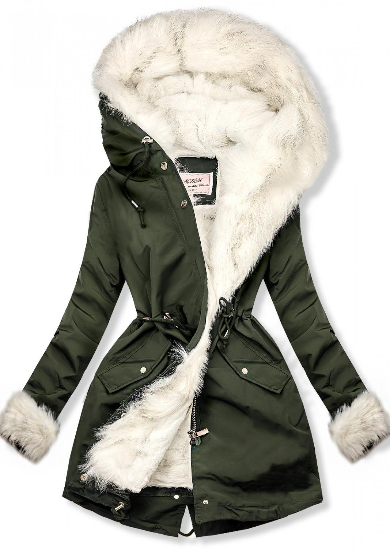 Wintermantel Parka grün. - nicht abnehmbare Kapuze - versteckter Reißverschluss und Druckknöpfen - einstellbarer Tunnelzug im Teillenbereich -abnehmbares warmes Futter mit Plüsch - vorne Reißverschlusstaschen - Material: 100% Polyester