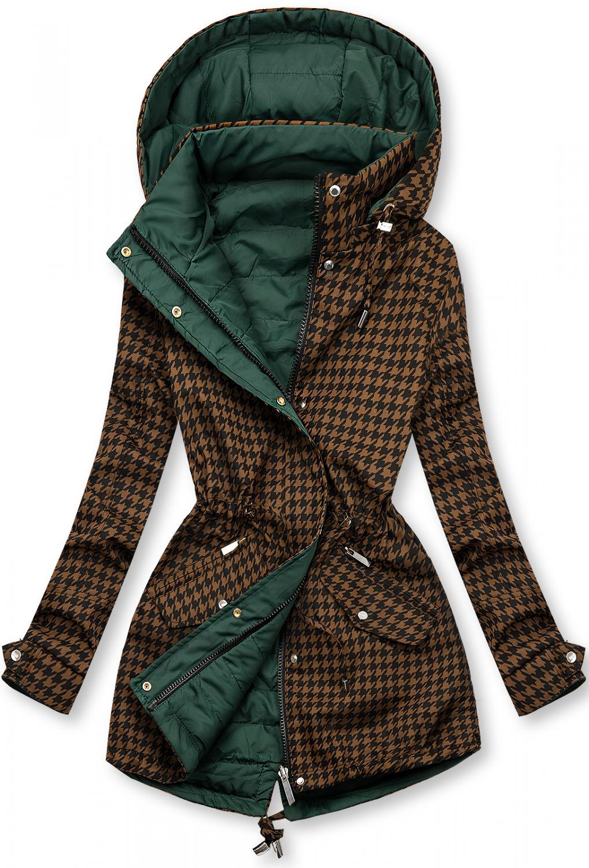Parka mit Hahnentrittmuster braun/grün. -leichter Parka mit abnehmbarer Kapuze -Reißverschluss - zwei vordere Reißverschlusstaschen - die andere Seite mit 2 Taschen -taillierte, perfekte Passform - Material: 100% Polyester, Futter: 100% Polyester