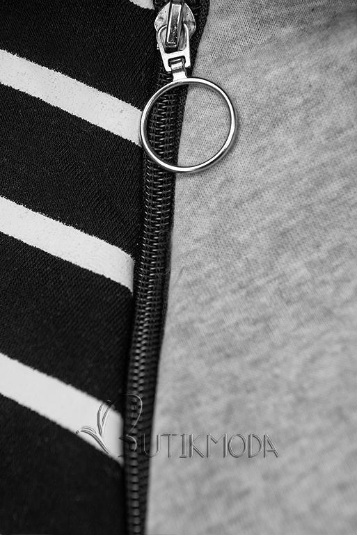 Freizeitanzug in Streifenoptik grau/schwarz
