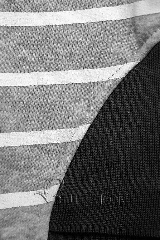 Freizeitanzug in Streifenoptik schwarz/grau