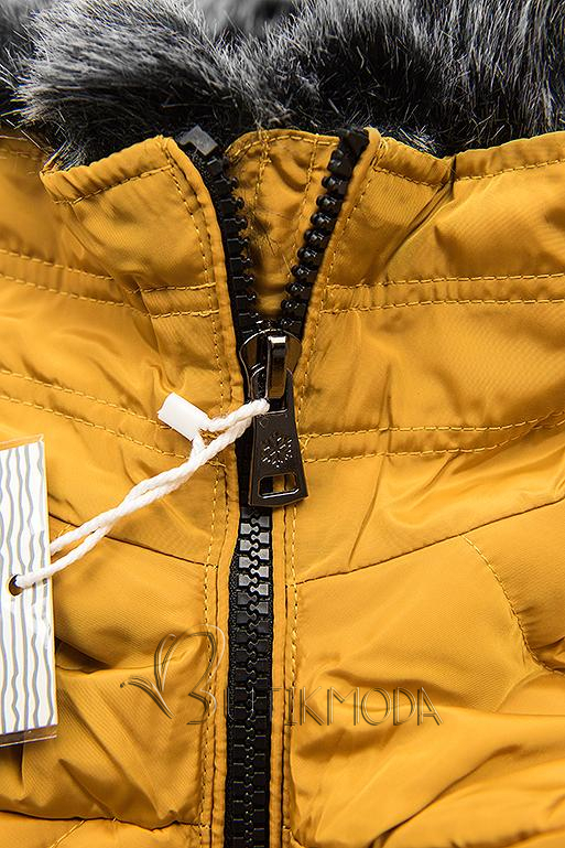 Winter Steppjacke mit Kapuze gelb