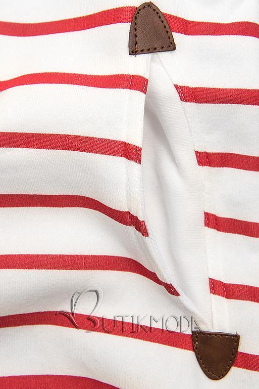 Kapuzenjacke in Streifenoptik weiß/rot/blau
