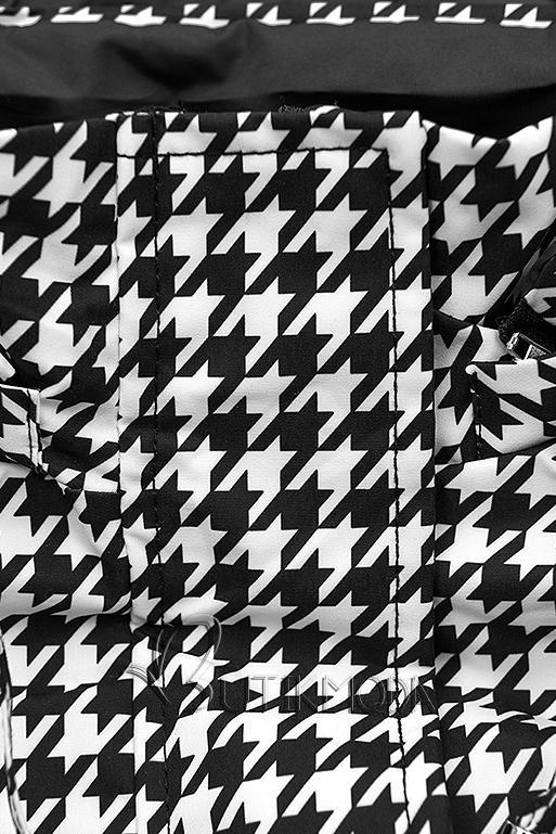 Parka mit Hahnentrittmuster/schwarz