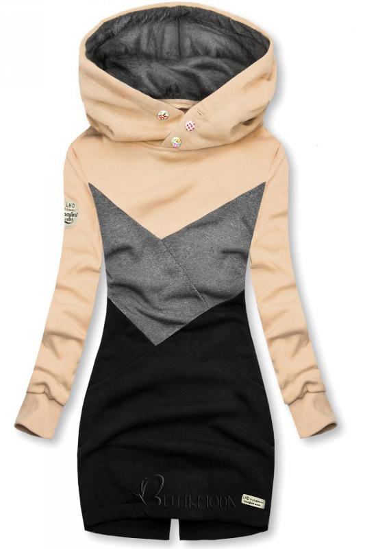 Verlängerte Sweatshirt mit Kapuze beige/grau/schwarz