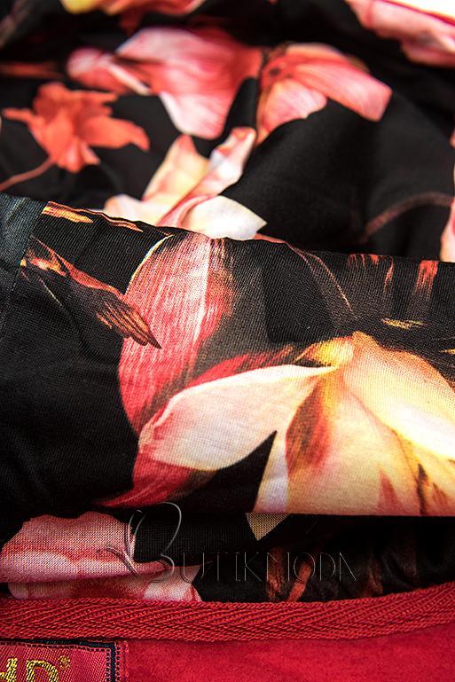 Kapuzensweatjacke in Colorblocking-Optik rot/schwarz