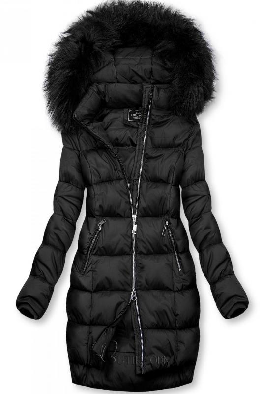 Gesteppte Winterjacke mit Kapuze schwarz