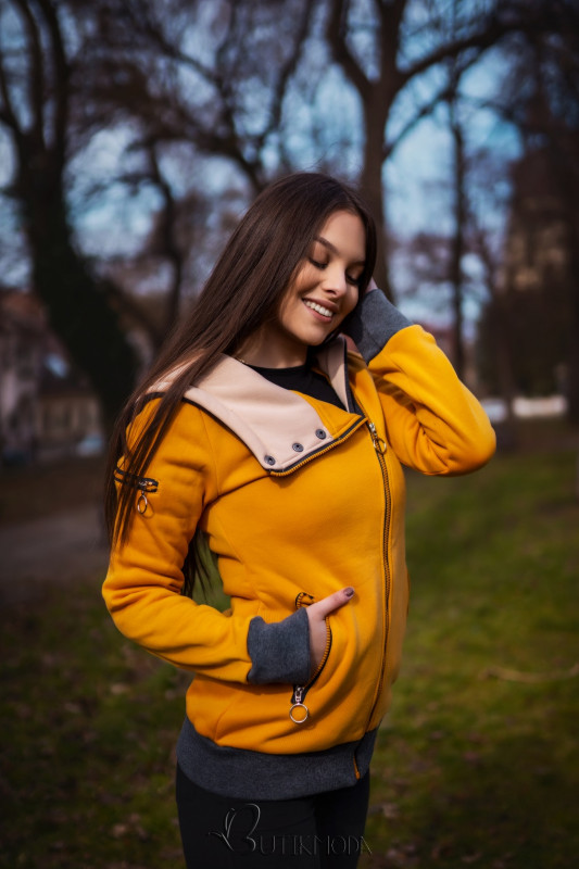 Kapuzensweatjacke in langer Form mit Zipper gelb