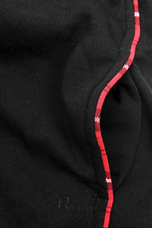 Kapuzenjacke mit Karo-Optik schwarz