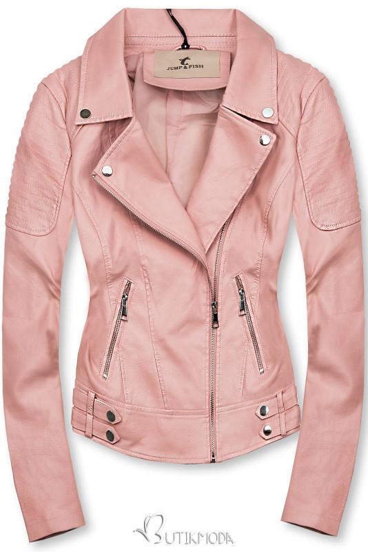 Lederimitatjacke im Biker-Look rosa