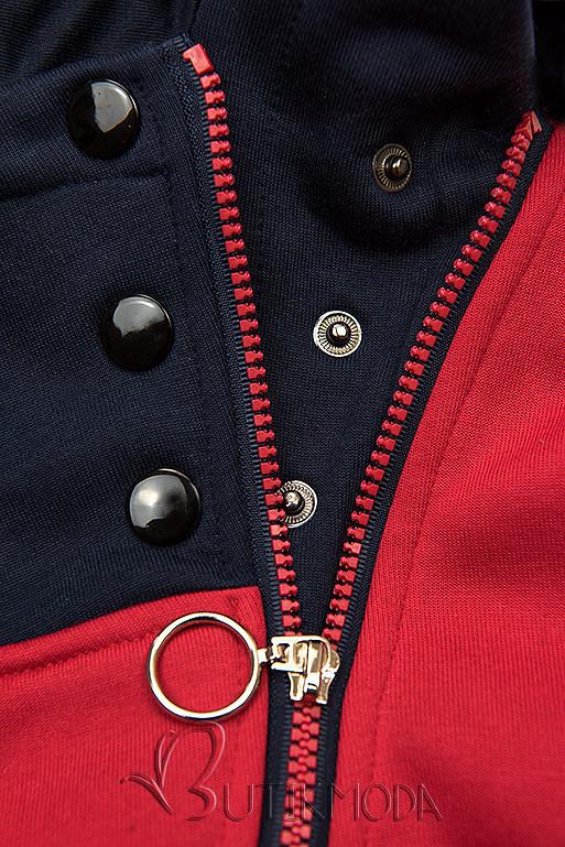 Kapuzensweatjacke in langer Form mit Zipper rot