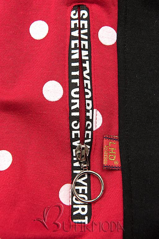 Kapuzensweatjacke mit Allover Punkte-Design rot