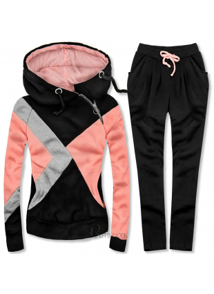 Dreifarbiger Trainingsanzug schwarz / Aprikose / grau
