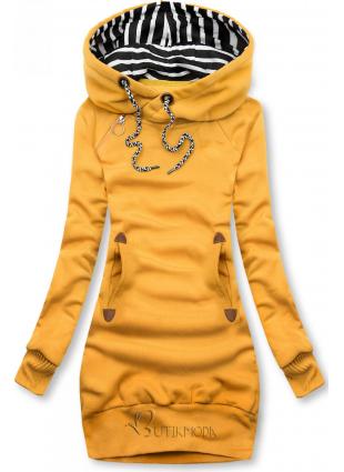 Sweatshirt/Sweatkleid mit Kapuze gelb