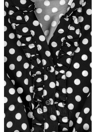 Midi Kleid Mit Punktemuster schwarz