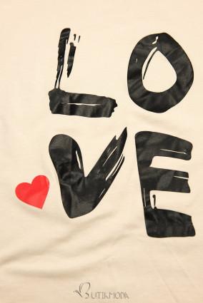 Tunikashirt mit Print LOVE beige