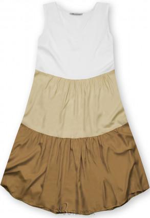 Kleid mit Color-Blocking-Optik beige/braun