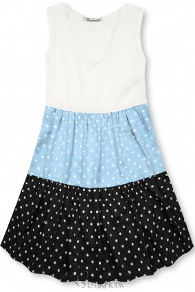 Kleid mit Punktedruck blau/schwarz