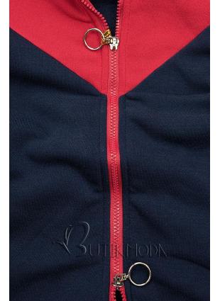 Sweatjacke in langer Form blau/rot/grau