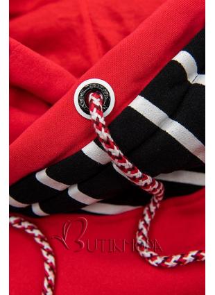 Freizeitanzug in Streifenoptik rot/schwarz