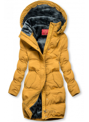 Winterjacke mit kuscheliger Teddy Fleece gelb
