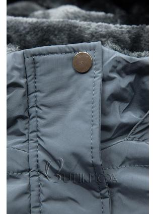 Winterjacke mit kuscheliger Teddy Fleece grau