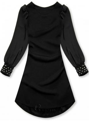 Kleid mit Perlen-Verzierung am Ärmel schwarz