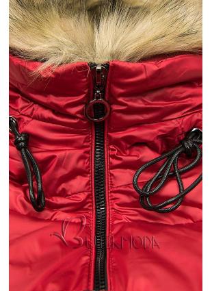 Gesteppte Jacke in glänzender Optik rot