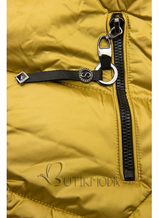 Gesteppte Jacke in glänzender Optik mustard