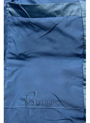 Gesteppte Jacke in glänzender Optik jeansblau