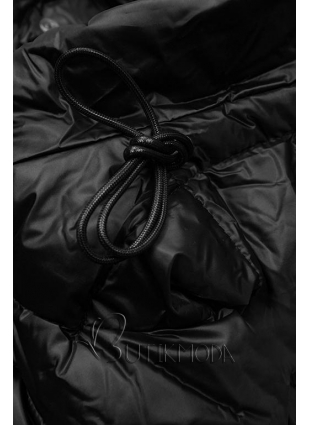 Gesteppte Jacke in glänzender Optik schwarz
