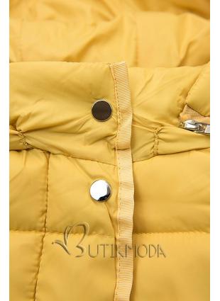 Steppjacke mit abnehmbarer Kapuze gelb