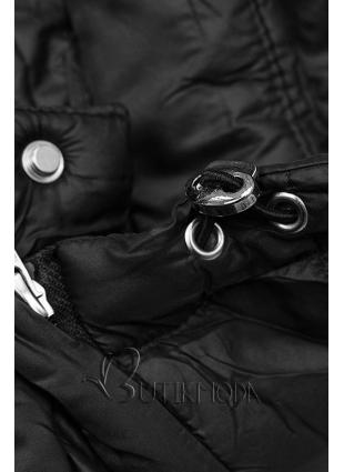 Steppjacke mit abnehmbarer Kapuze schwarz