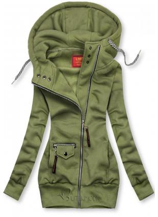 Sweatjacke mit Kapuze, Basic-Style khaki