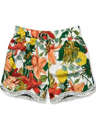 Shorts im Blumenmuster orange/weiß