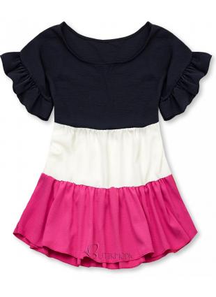 Top mit Volantdetails blau/weiß/pink