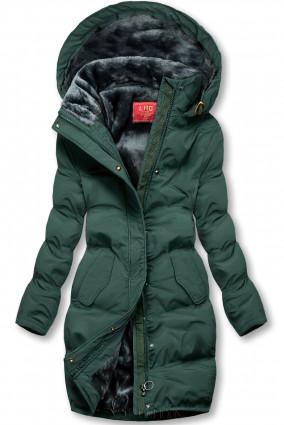 Winterjacke mit kuscheliger Teddy Fleece dunkelgrün