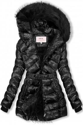 Jacke mit Gürtel schwarz/schwarz