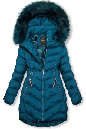 Winterjacke mit Fellimitat an der Kapuze  blaugrün