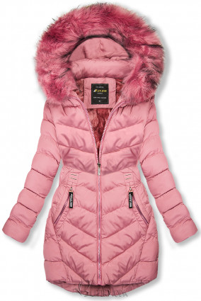 Winterjacke mit Fellimitat an der Kapuze rosa