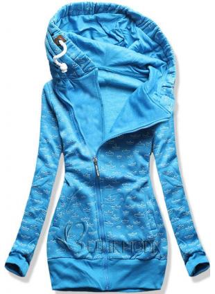 Bedruckte Sweatjacke blau