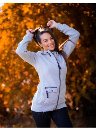 Sweatjacke mit Kapuze, Basic-Style grau