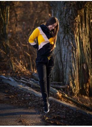 Dreifarbiger Trainingsanzug schwarz / gelb / beige