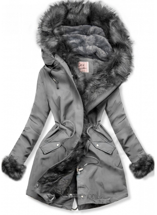 Wintermantel Parka grau