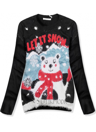 Pullover LET IT SNOW schwarz