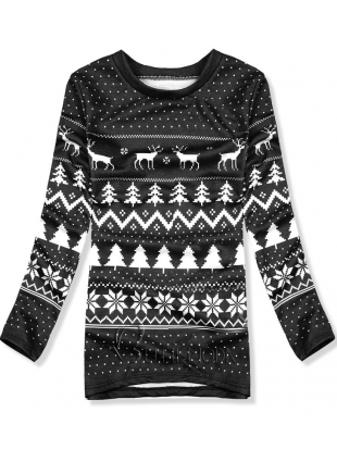Sweatshirt mit Weihnachtsmuster schwarz