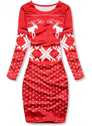 Velourskleid mit Weihnachts-Print rot