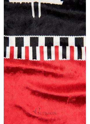 Velourskleid mit Weihnachts-Print dunkelblau/rot