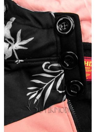 Erweitertes Sweatshirt mit Blumenmuster schwarz