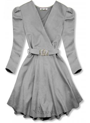 Graues Kleid mit gerafften Ärmeln